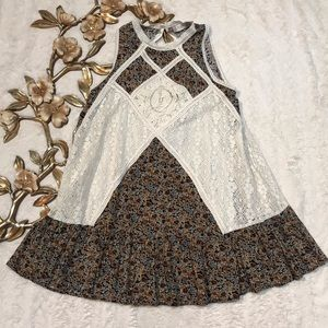 Altar'd State Floral Print Crochet Mini SunDress S